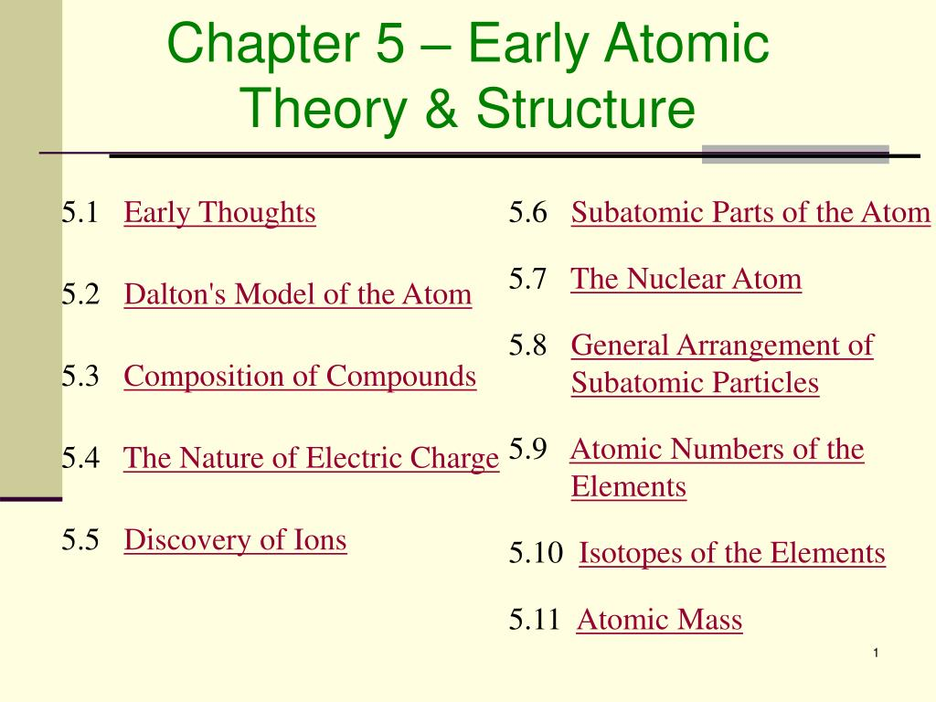 chapter 5 early atomic theory structure