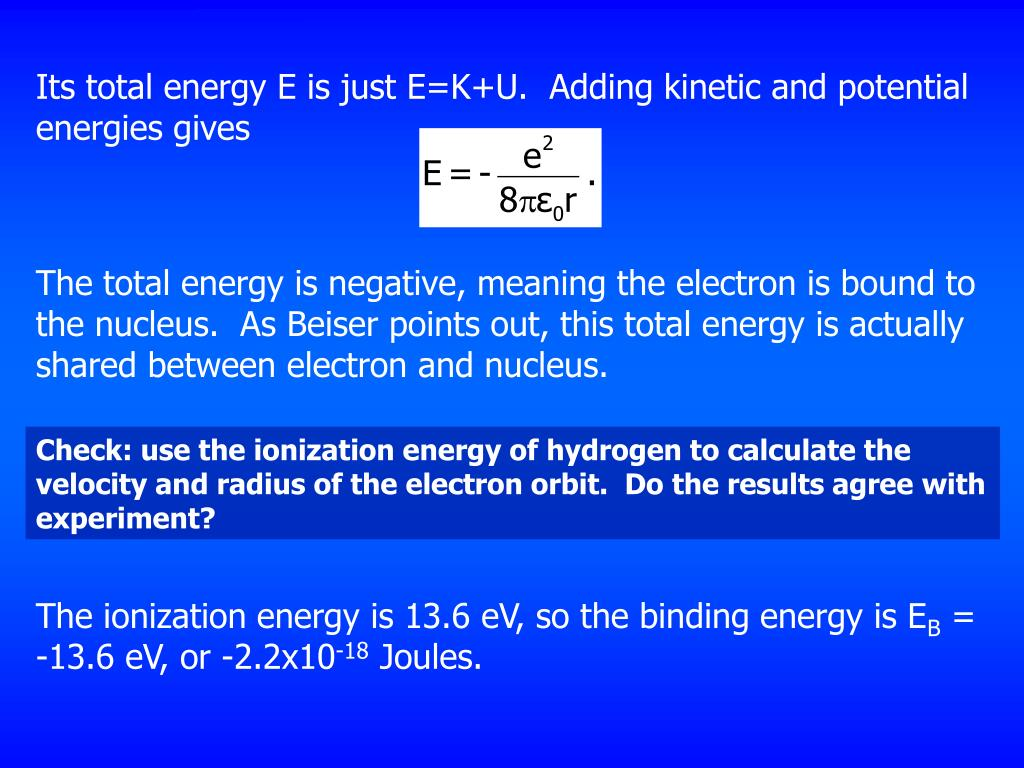 Its total energy E is just E=K+U.  Adding kinetic and potential energies gives