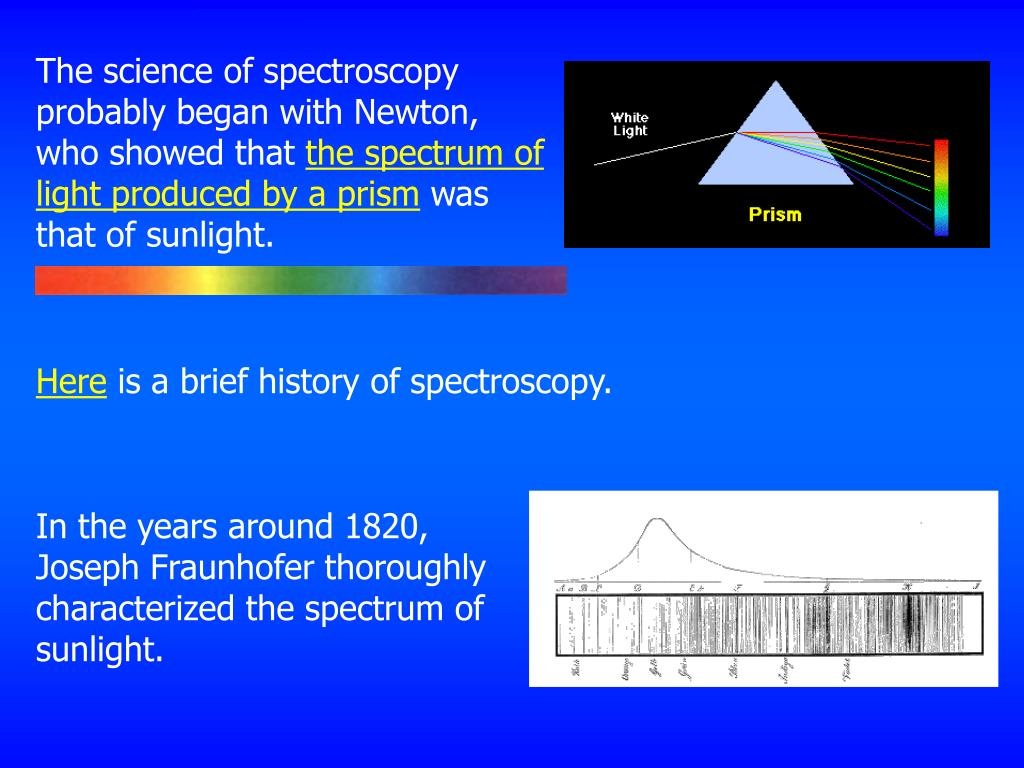 The science of spectroscopy probably began with Newton, who showed that