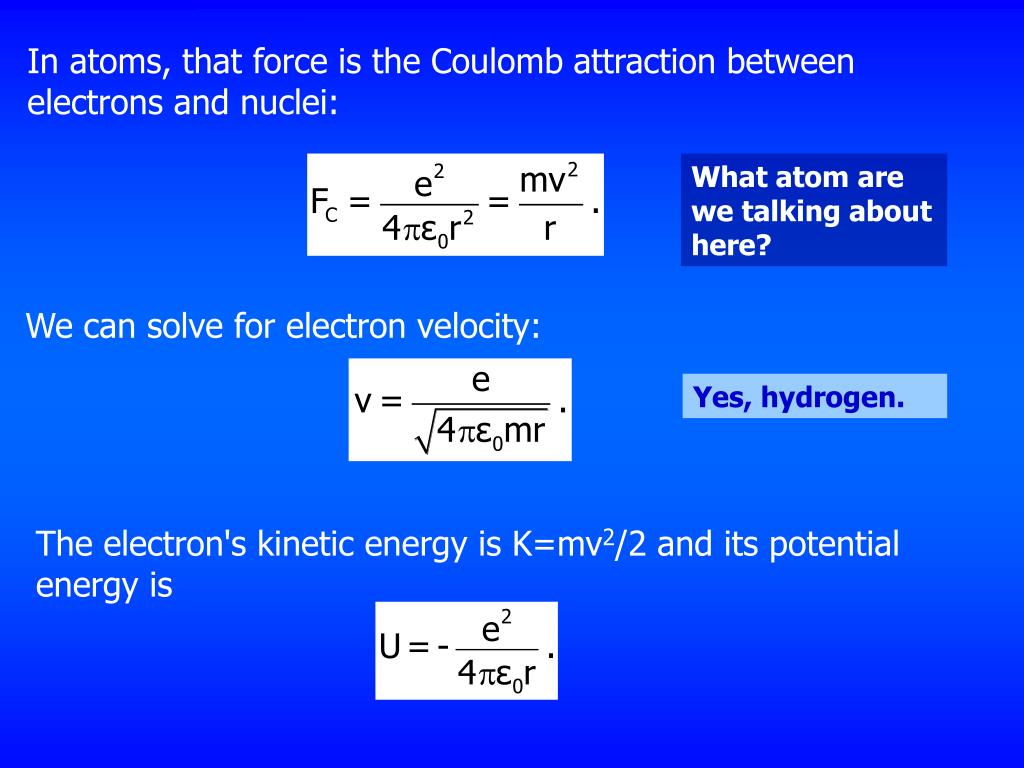In atoms, that force is the Coulomb attraction between electrons and nuclei:
