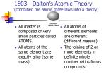 1803 dalton s atomic theory combined the above three laws into a theory