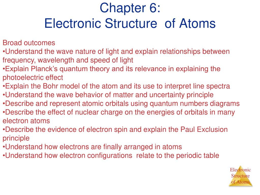chapter 6 electronic structure of atoms l.