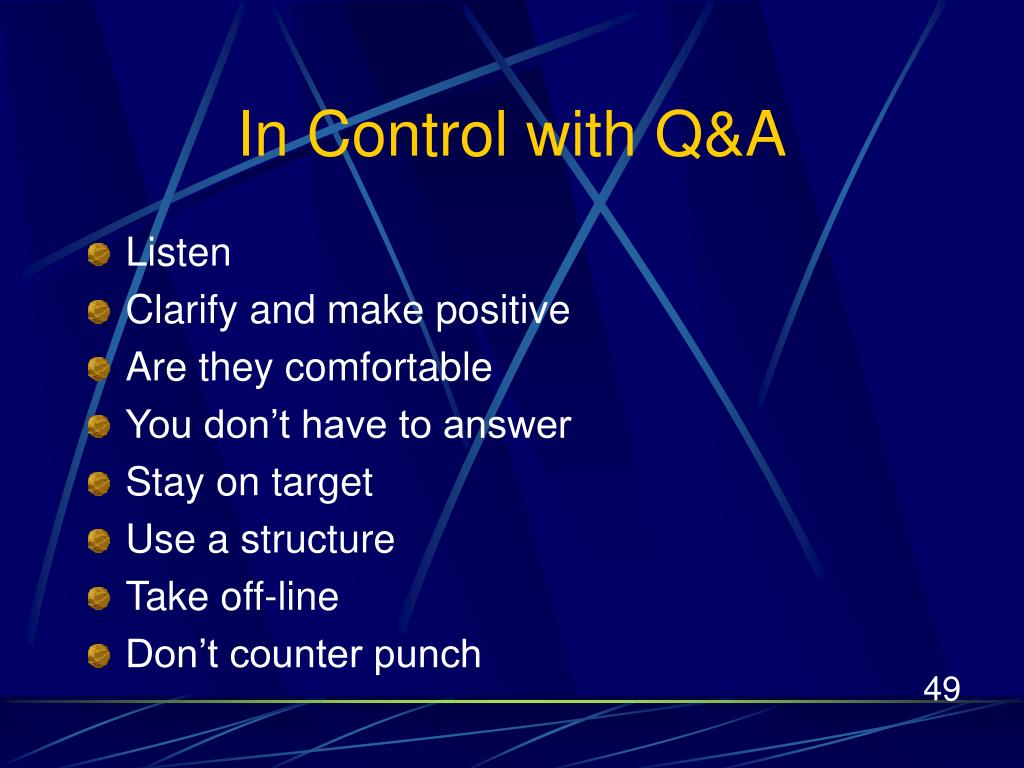 In Control with Q&A