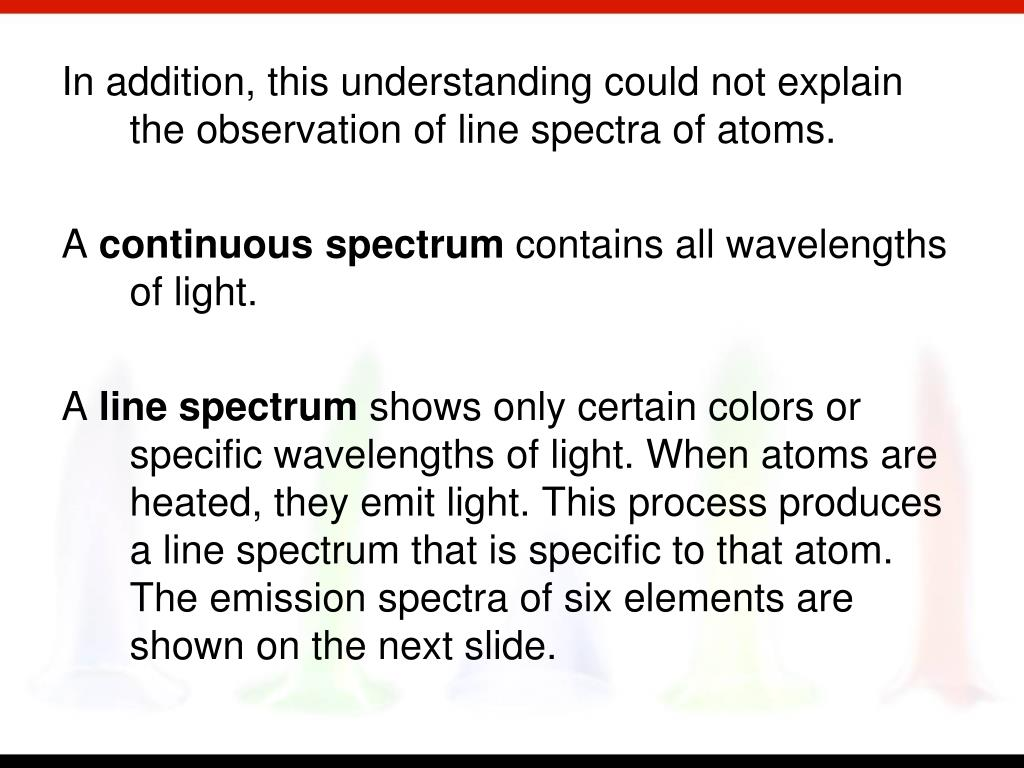 In addition, this understanding could not explain the observation of line spectra of atoms.