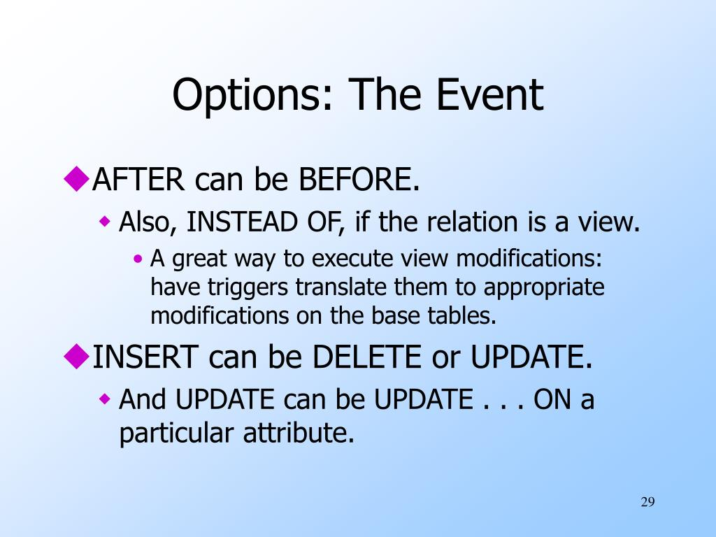 Options: The Event