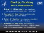 blast injury vocabulary specific for high order explosives he