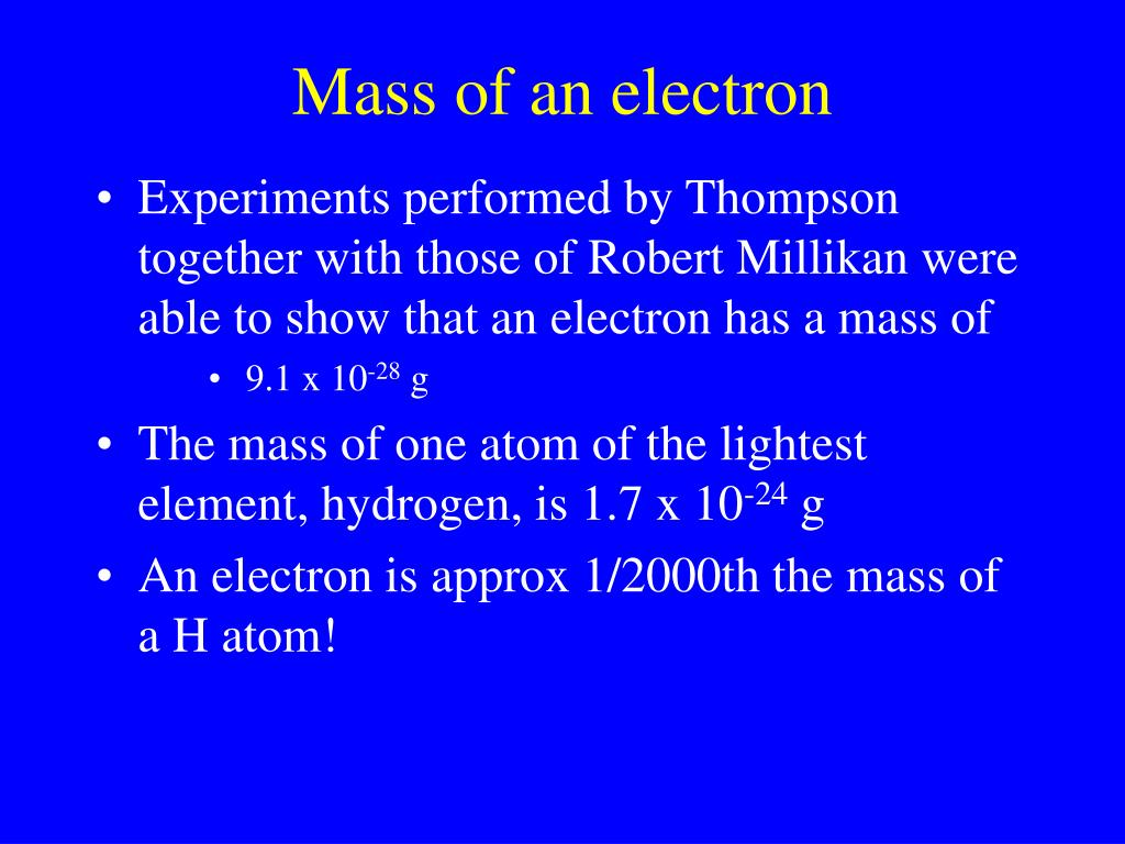 Mass of an electron