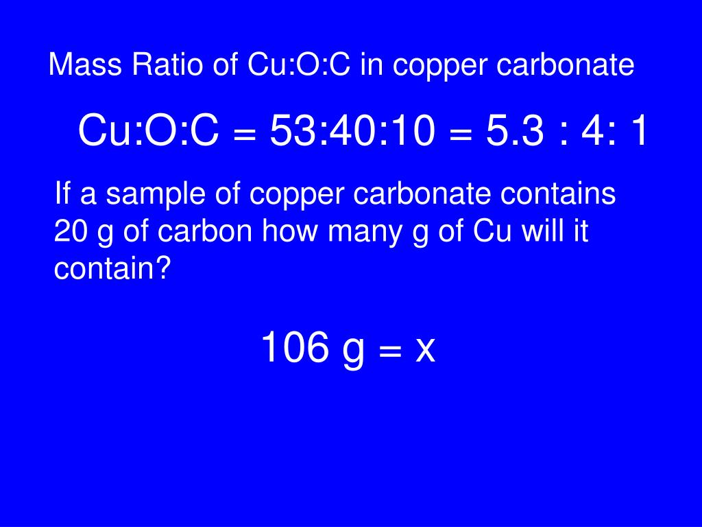 Mass Ratio of Cu:O:C in copper carbonate