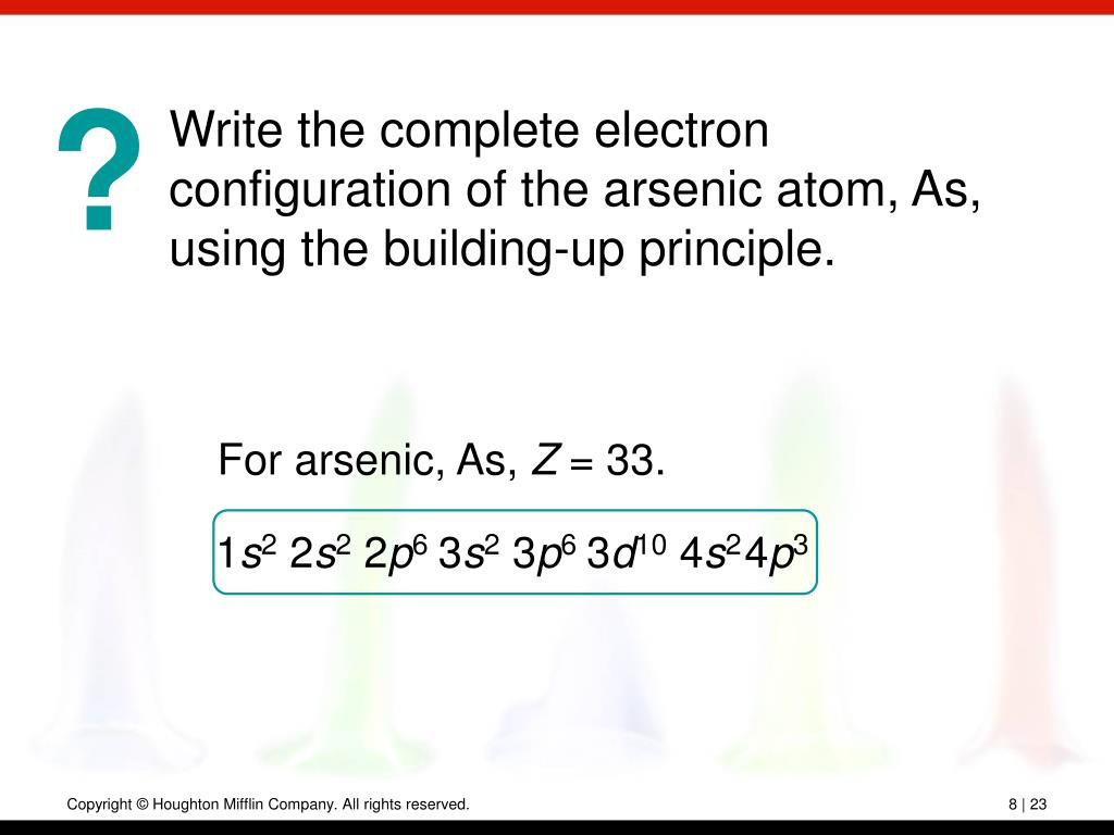 Write the complete electron configuration of the arsenic atom, As, using the building-up principle.