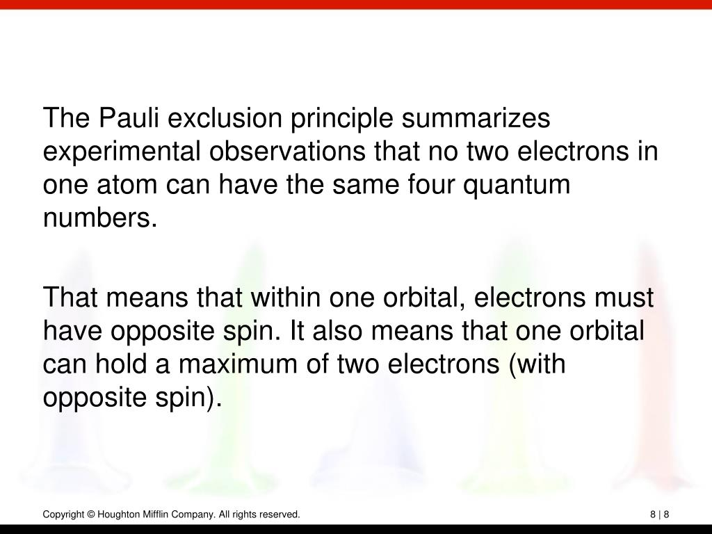 The Pauli exclusion principle summarizes experimental observations that no two electrons in one atom can have the same four quantum numbers.
