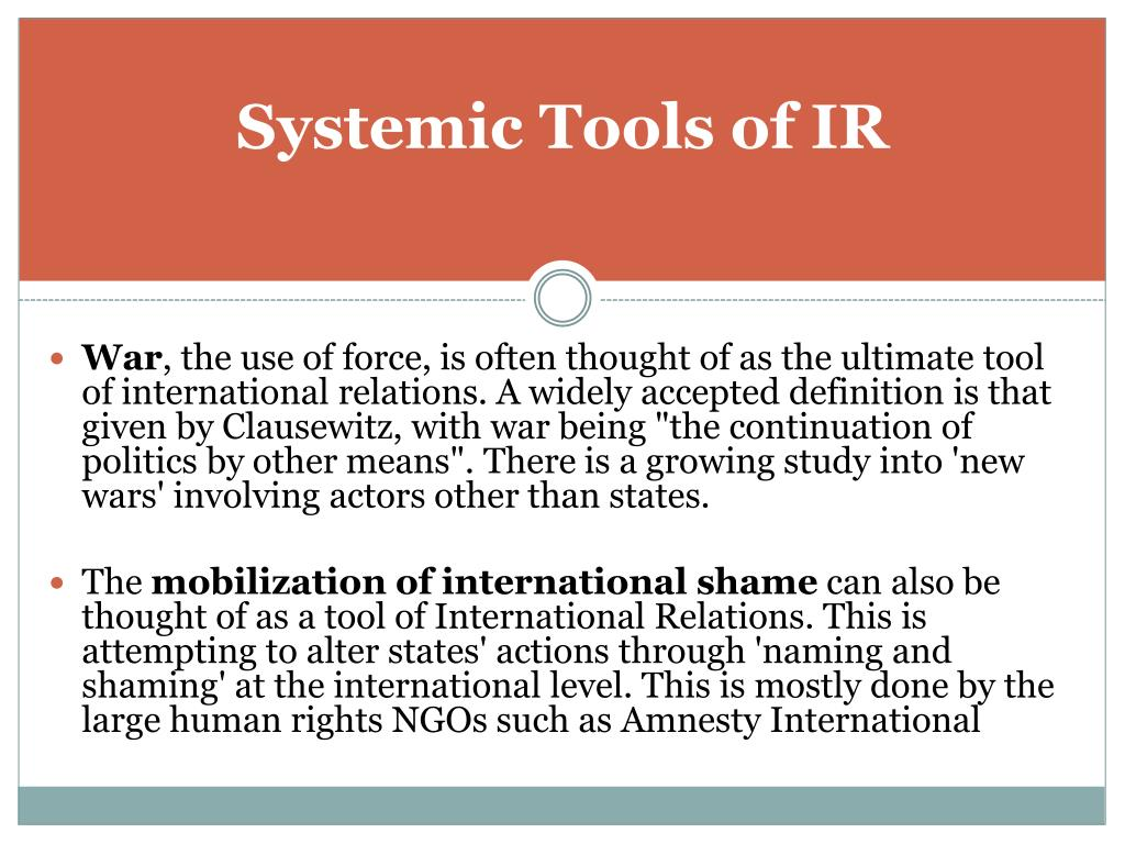 Systemic Tools of IR