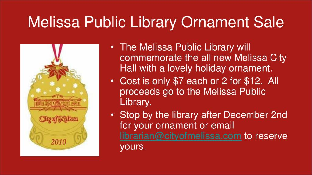 Melissa Public Library Ornament Sale