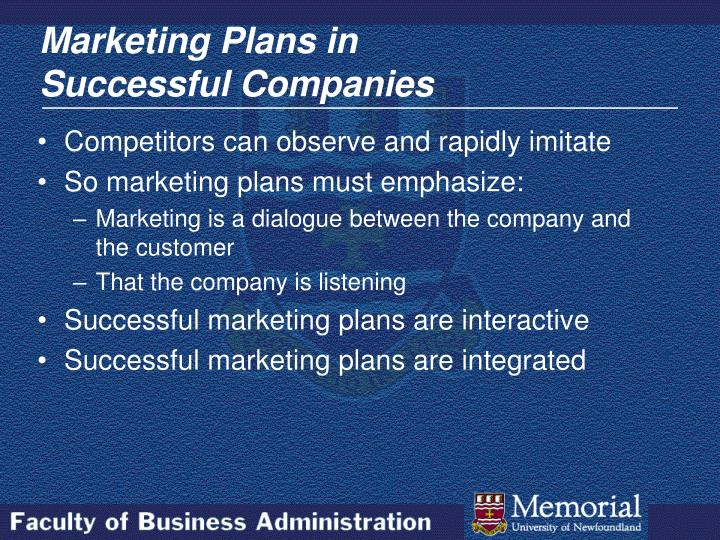 Marketing plans in successful companies