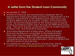 a letter from the student loan community