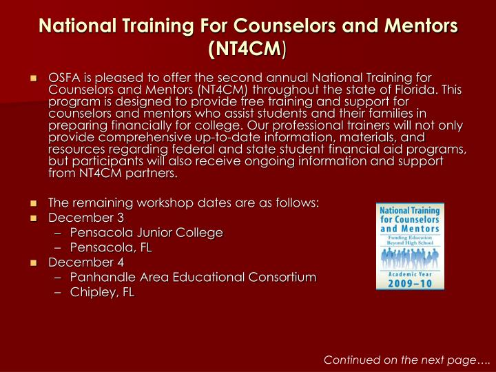 National training for counselors and mentors nt4cm