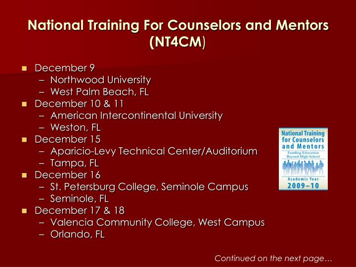 National training for counselors and mentors nt4cm3