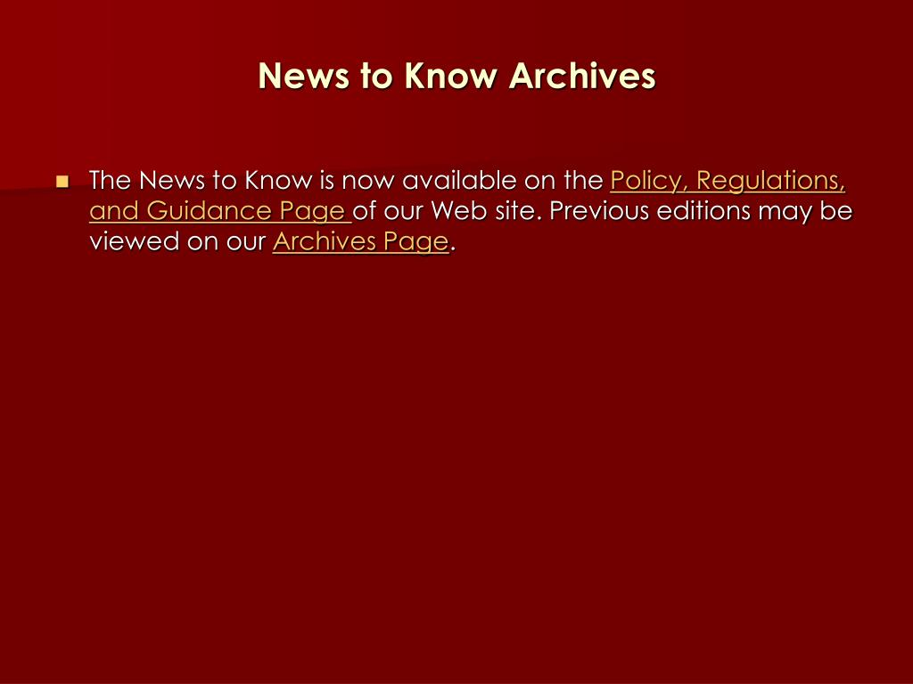 News to Know Archives