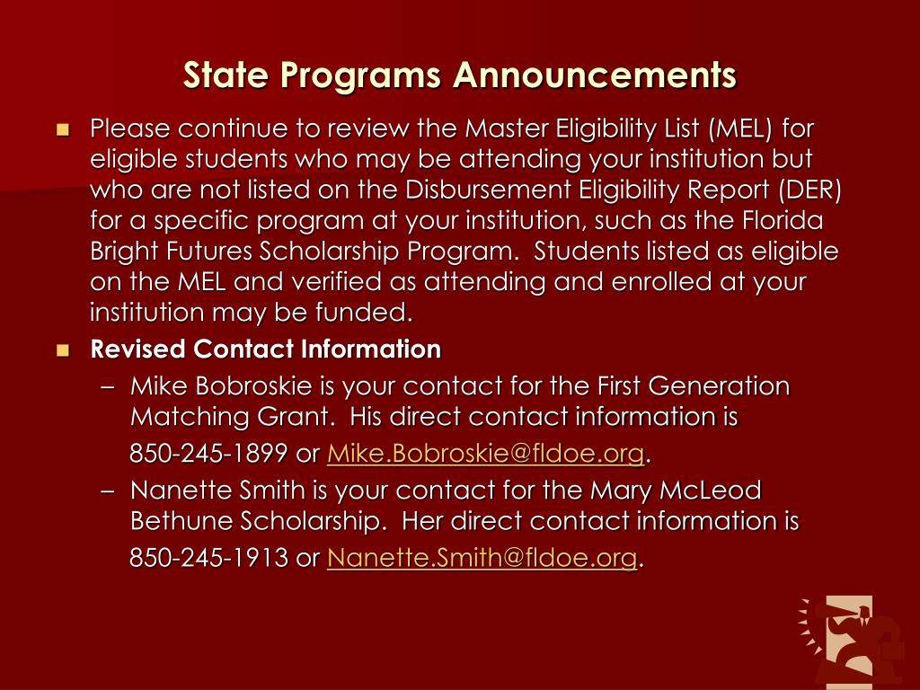 State Programs Announcements