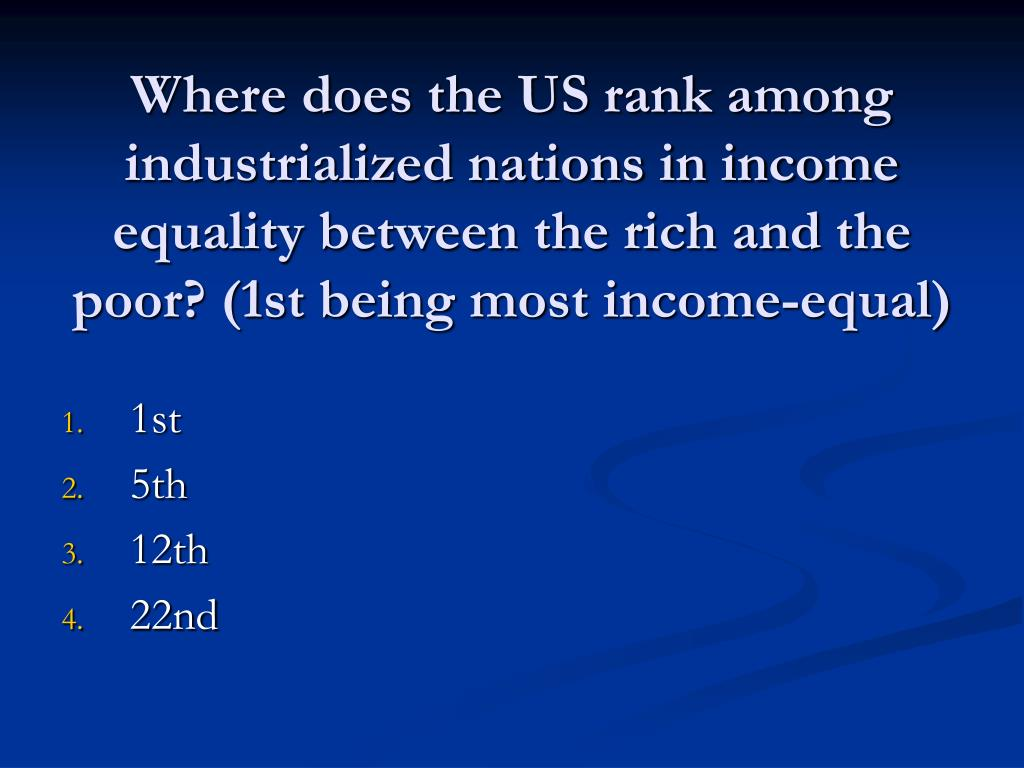 Where does the US rank among industrialized nations in income equality between the rich and the poor? (1st being most income-equal)