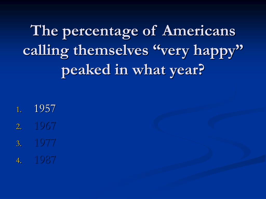 """The percentage of Americans calling themselves """"very happy"""" peaked in what year?"""