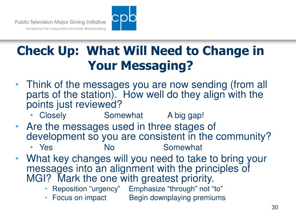 Check Up:  What Will Need to Change in Your Messaging?
