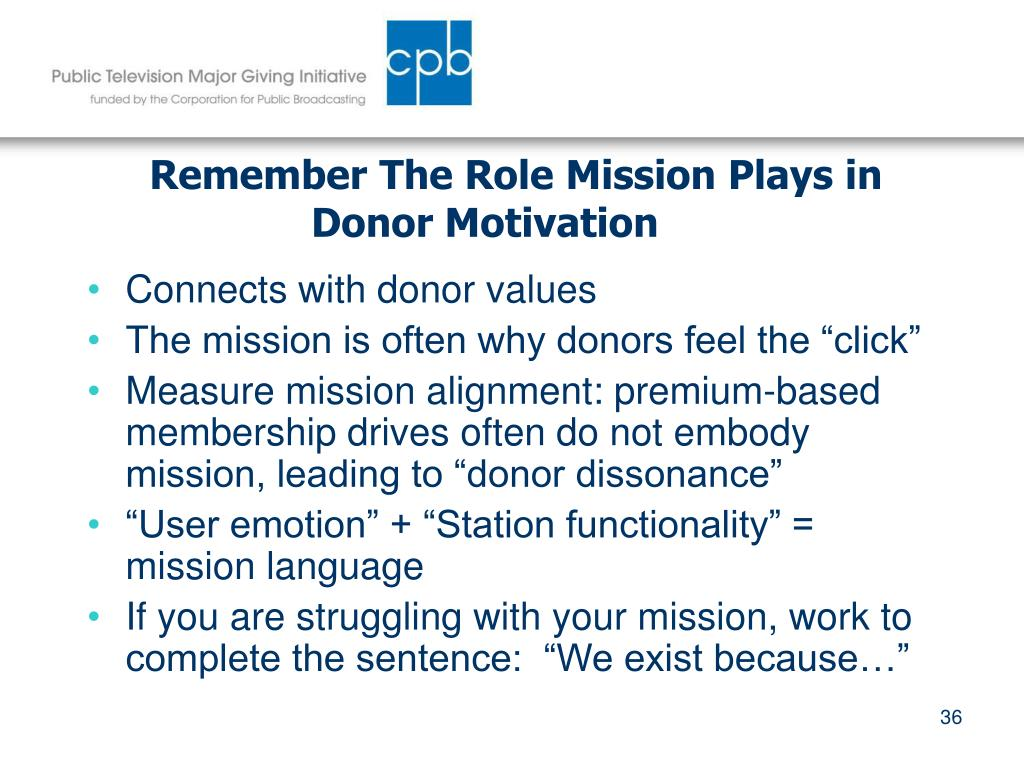 Remember The Role Mission Plays in