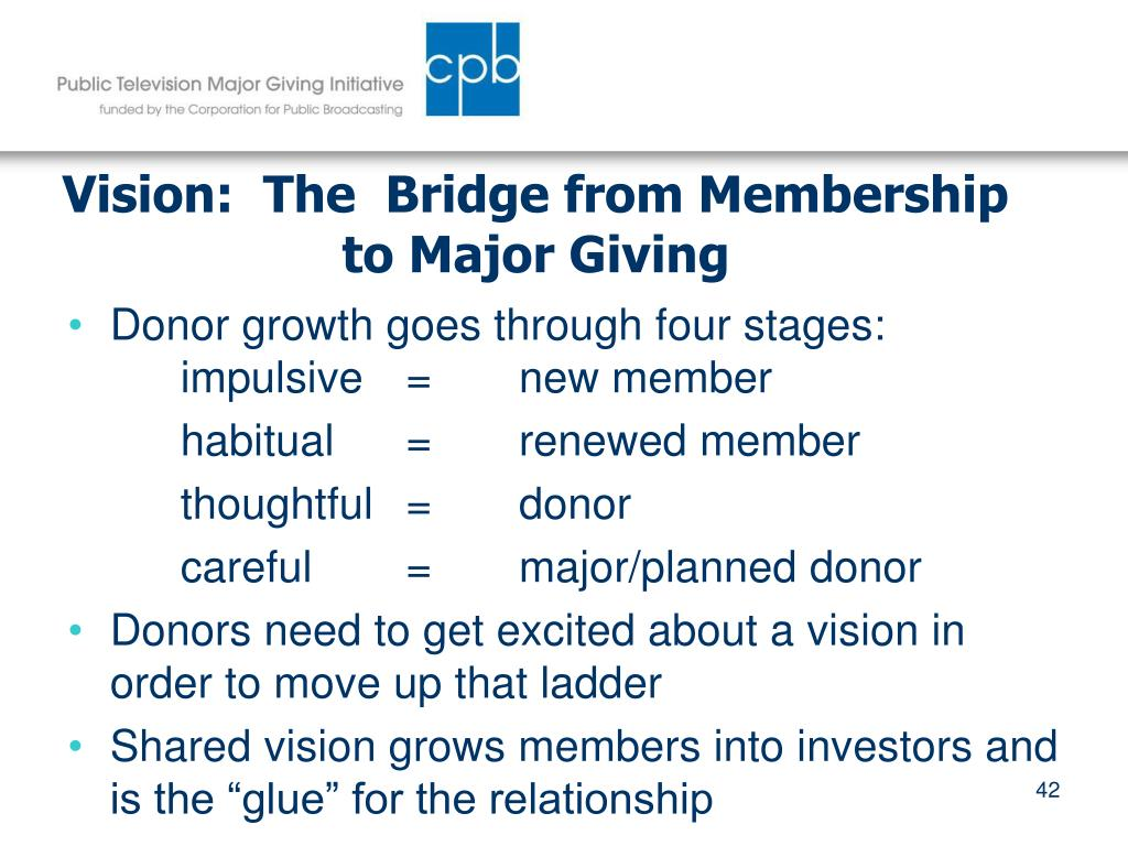 Vision:  The  Bridge from Membership to Major Giving