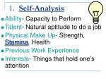 1 self analysis