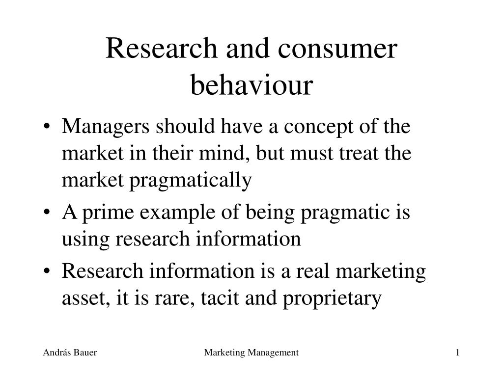 research and consumer behaviour l.