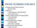 phone numbers for help