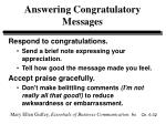 answering congratulatory messages