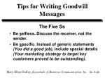 tips for writing goodwill messages