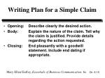 writing plan for a simple claim