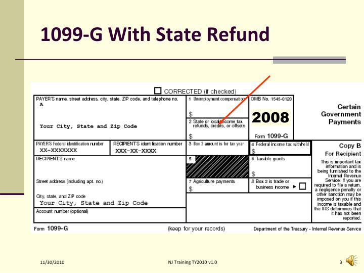 1099 g with state refund