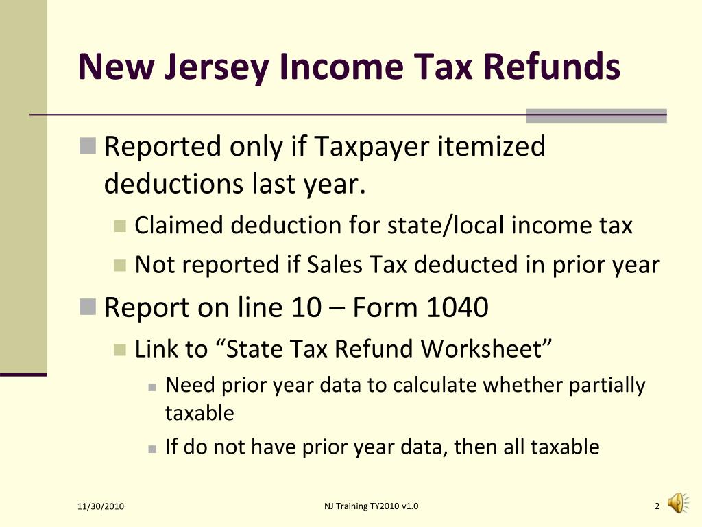 New Jersey Income Tax Refunds