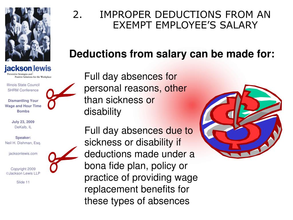 IMPROPER DEDUCTIONS FROM AN EXEMPT EMPLOYEE'S SALARY