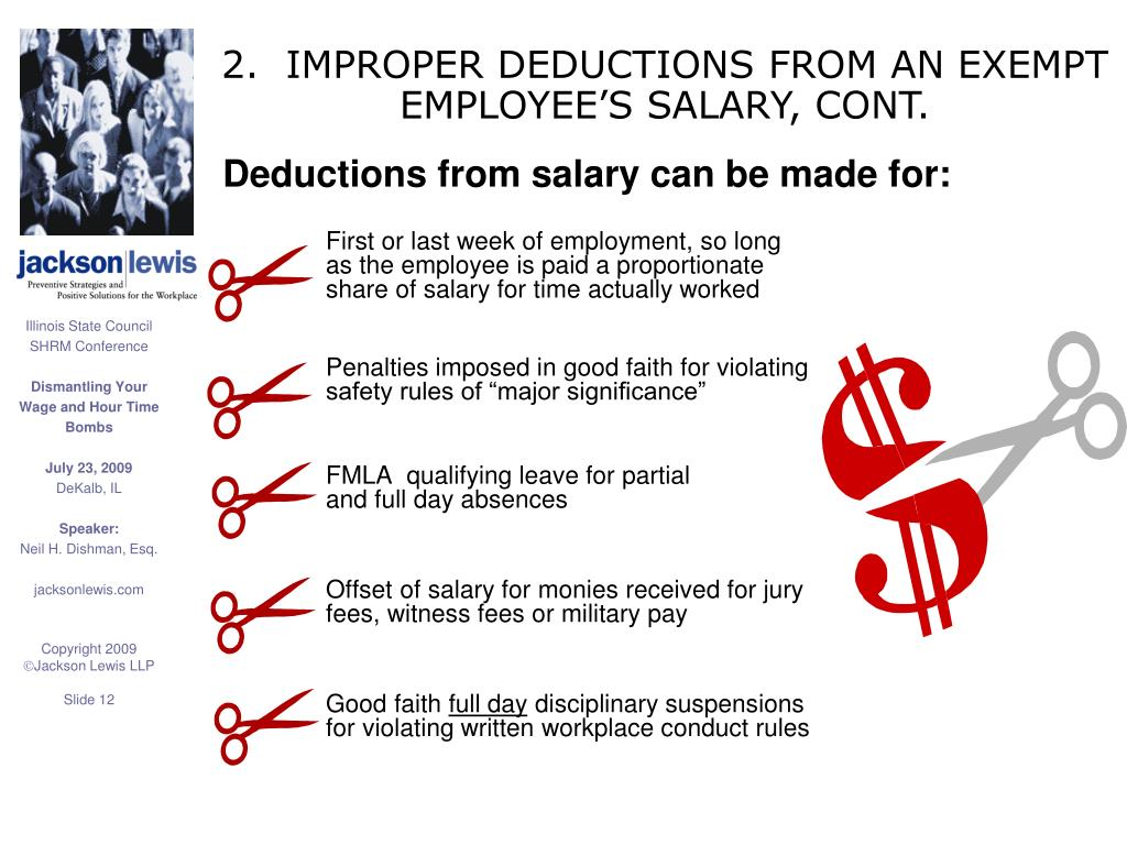 2.  IMPROPER DEDUCTIONS FROM AN EXEMPT EMPLOYEE'S SALARY, CONT.