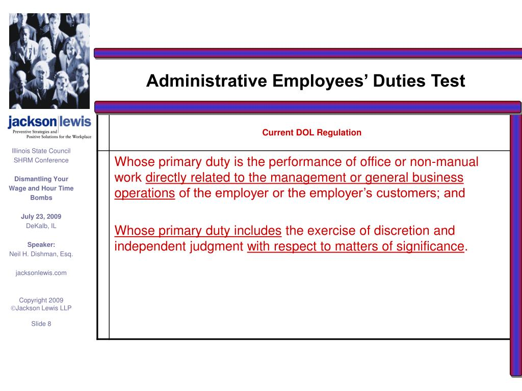 Administrative Employees' Duties Test