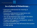 in a culture of philanthropy