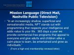 mission language direct mail nashville public television
