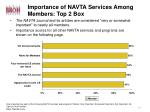 importance of navta services among members top 2 box