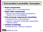 extractable leachable examples