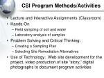 csi program methods activities