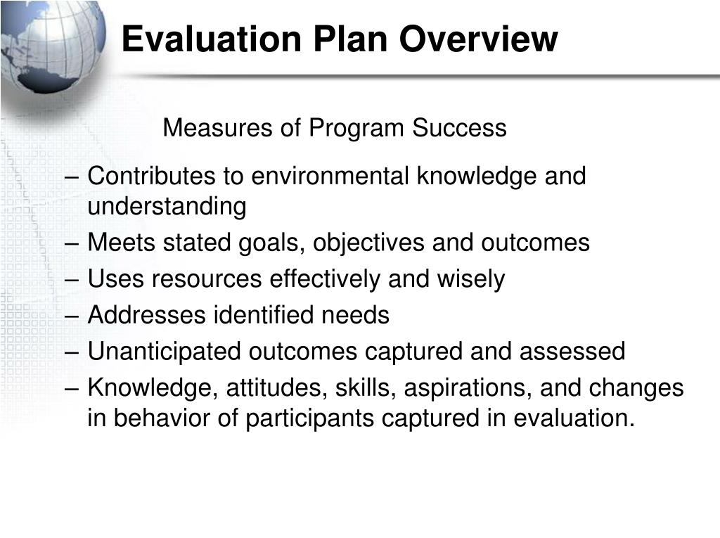 Evaluation Plan Overview
