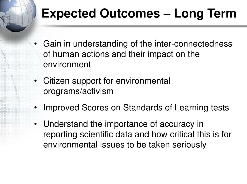Expected Outcomes – Long Term