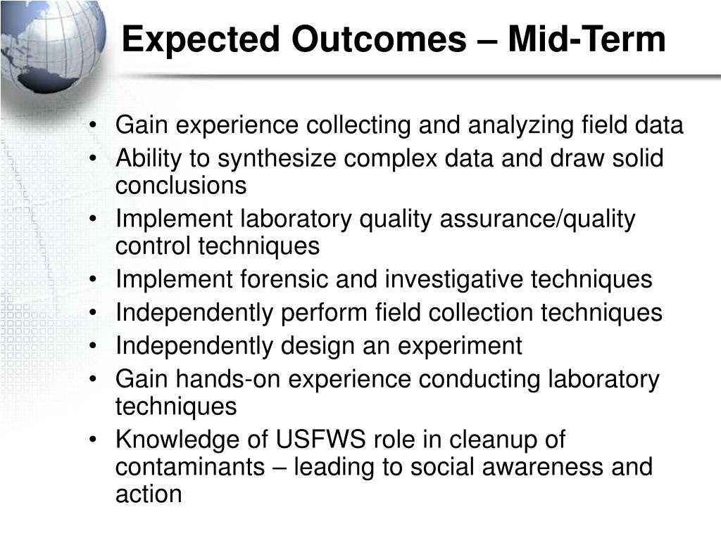 Expected Outcomes – Mid-Term