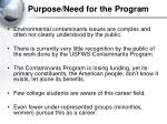 purpose need for the program