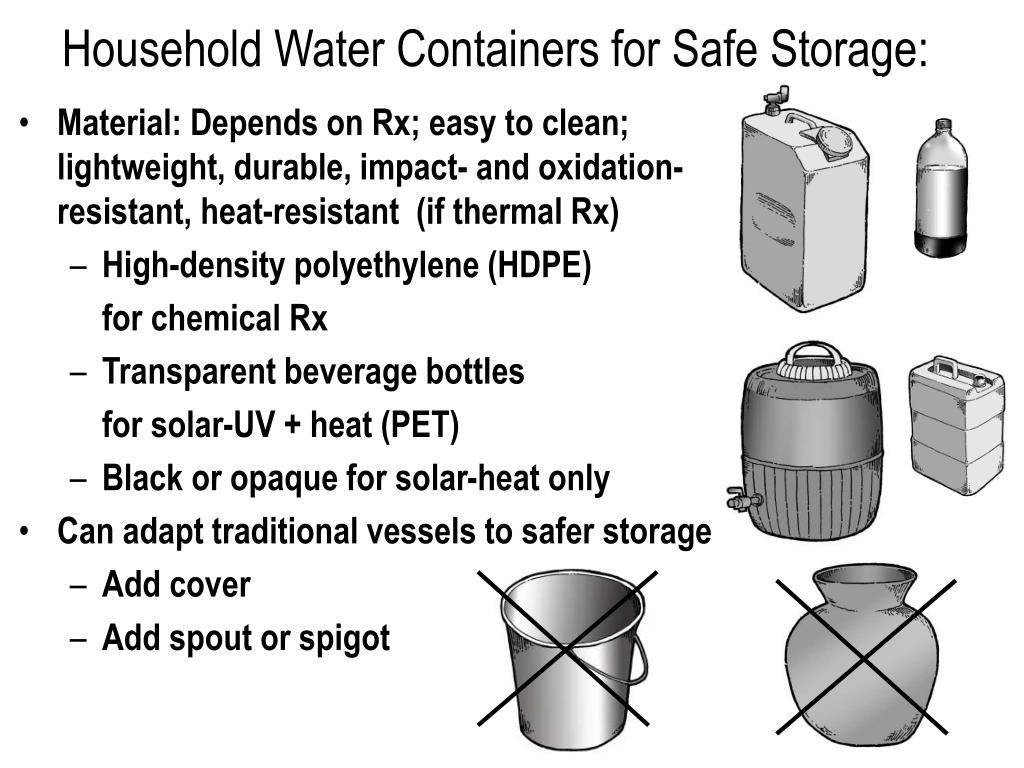 Household Water Containers for Safe Storage: