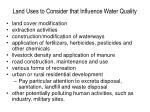 land uses to consider that influence water quality