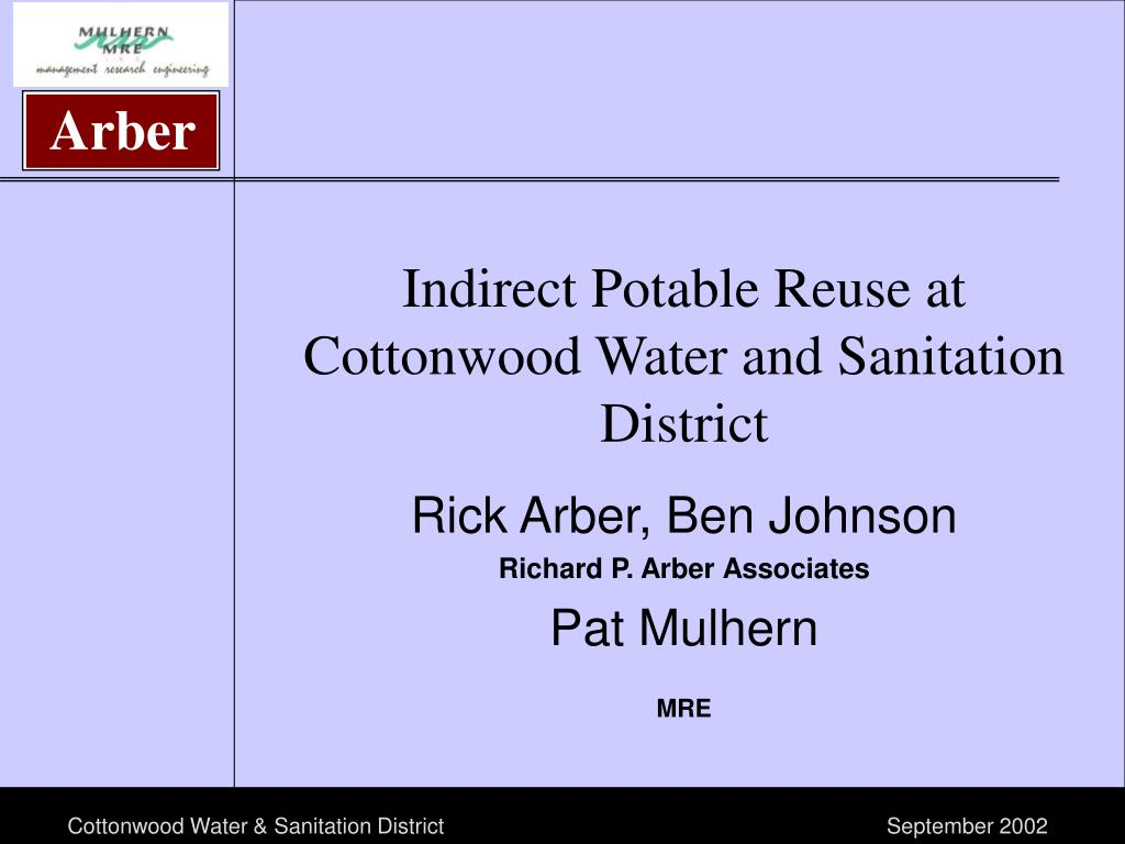 indirect potable reuse at cottonwood water and sanitation district l.